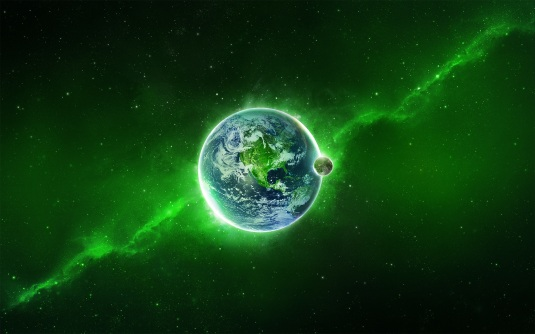Planet-in-a-green-nebula