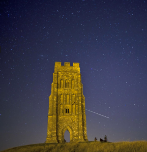 Perseid meteor shower visible in the night sky above Glastonbury