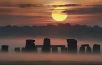 Stonehenge sun misty