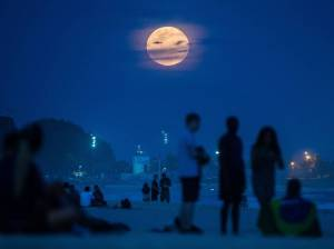 Perigee moon at Ipanema beach in Rio de Janeiro, Brazil